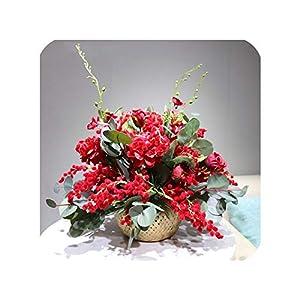 NA Honey Yo 1 Set Red Mimosa Christmas Flower Arrangement Bonsai Bouquet Artificial Flower Party Home Event