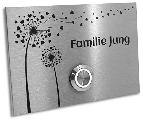 Jung-Edelstahl-Design Türklingel mit Gravur Pusteblume. Klingelplatte 12x8 cm. Led Klingeltaster weiss. Klingelschild V2a Edelstahl.