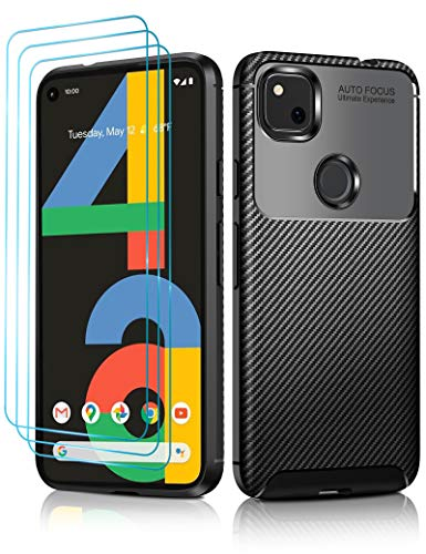 ivoler Case for Google Pixel 4a with [3 Pack] Screen Protector,[Carbon Fiber Pattern],Drop Protection Shock Resistant Protective TPU Slim,Anti-Scratch for Google Pixel 4a Bumper Case - Black