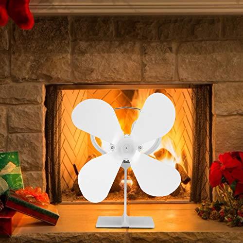 BITHEOUT Ventilador de Calor, Blanco, 4 aspas, Estufa, Ventilador de Chimenea, Conveniente para la instalación, Estufa, Quemador de leña térmico, Ventilador de Calor, distribución de Calor,