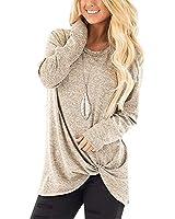 SAMPEEL Women's Long Sleeve Shirt Casual Oversized Sweaters Tunic Tops Leggings Apricot XXL