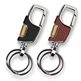 homEdge Heavy Duty Key Chain, 2 Pack Car Key Chains with 2 Metal Key Rings Carabiner Keychians-Black and Brown