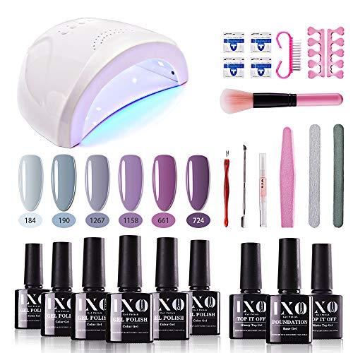 IXO Gel Nail Polish Starter Kit with Upgraded 48W UV LED Light Nail Lamp Soak Off Gel Base Top Coat Lavender Series Pink Purple Gel Polish Set Nail Art Manicure Tools Essentials Kit