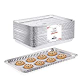 "(20 Pack) 1/2 Cookie Sheet Baking Cake Pans l 17.7"" x 13"" Disposable Aluminum Foil Trays l Premium Heavy Duty Nonstick Baking Sheets Reusable"