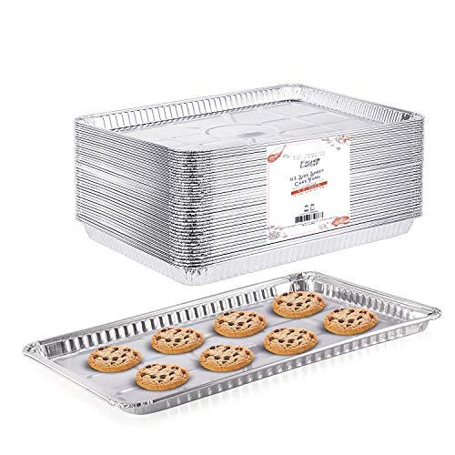 """(20 Pack) 1/2 Cookie Sheet Baking Cake Pans l 17.7"""" x 13"""" Disposable Aluminum Foil Trays l Premium Heavy Duty Nonstick Baking Sheets Reusable"""