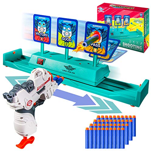 Moving Target for Nerf Toys,Running Shooting Electronic Targets with Foam Dart Toy Gun,3 Targets Auto Reset Toys for Shooting Practice,Ideal Gift for Age of 5,6,7,8,9,10+ Years Old Kids Boys & Girls