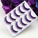 Iumer 5 Pairs Purple False Eyelashes Fancy Long Thick False Feather Eyelashes Party Eye Lash Makeup,Purple