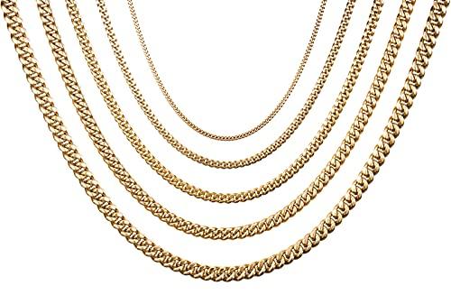 Collar de cadena cubana gruesa para hombre y mujer, 4/6/8/10/12 mm de ancho, 40/50/60/70/80 cm de longitud, acero inoxidable, chapado en oro, con caja de regalo, Acero inoxidable,