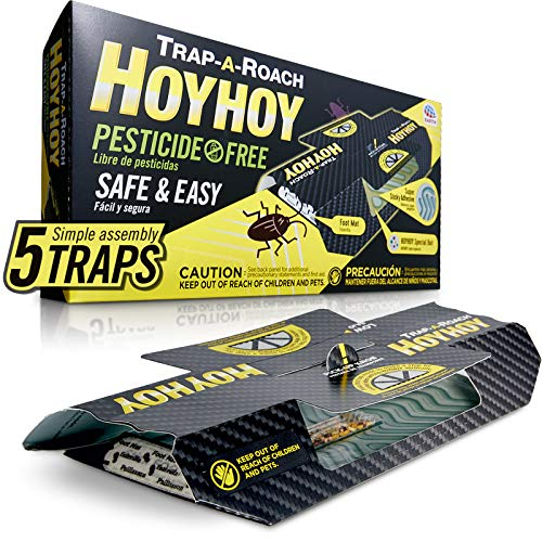 HOY HOY Trap A Roach 5 Traps - Pesticide Free Bait Glue Traps, Indoor Home, Sticky Pest Control Trap, Roach Killer, Made in Japan