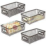 mDesign Juego de 4 cestas de almacenaje de metal con asas integradas –...