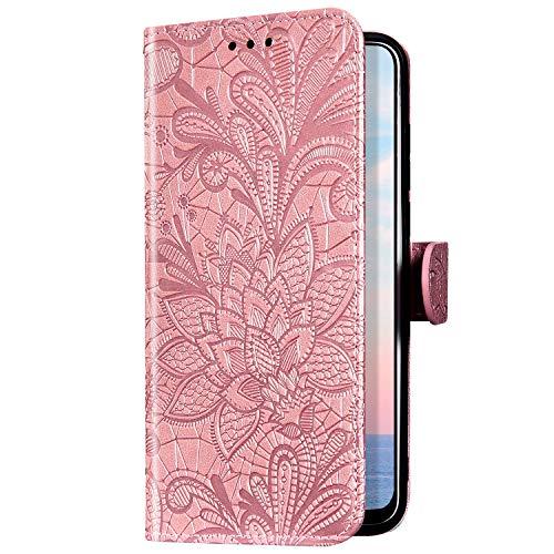Uposao Kompatibel mit Samsung Galaxy M30S Handyhülle Mandala Blumen Motiv Muster Leder Hülle Flip Schutzhülle Brieftasche Klapphülle Wallet Bookstyle Tasche Case Magnet Kartenfach,Rose Gold