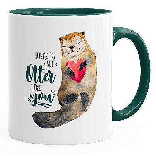 MoonWorks Kaffee-Tasse There is no Otter Like You Liebe Spruch Geschenk-Tasse Love Quote lustig verliebt Freund Freundin grün Unisize