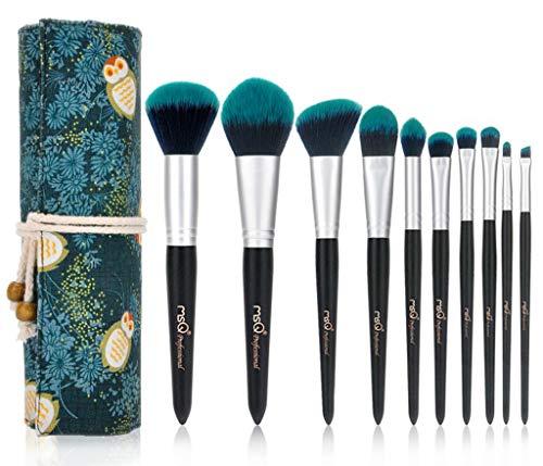 Make-up-Pinsel Brosse de Maquillage, 10 Brosse de Maquillage de forêt Verte Ensemble Ensemble Complet de beauté Maquillage Outils Ombre à paupières Brosse