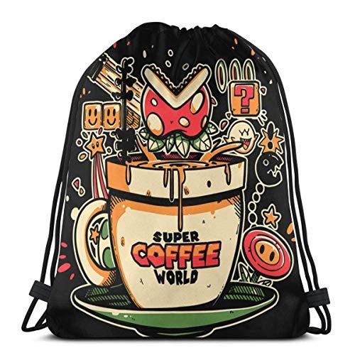WH-CLA Bolsas Cinch Super Coffee World Anime Hombres Mujeres Mochila con Cordón Compras Bolsas De Cincha Únicas Deporte Casual Bolsas con Cordón Impresión De Yoga Gimnasio Al Aire Libre