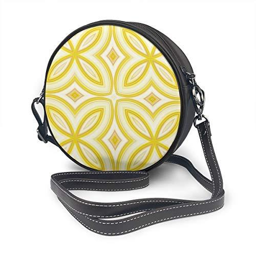 Hermosa sin costuras ornamentales patrón de cuento redondo bolso de hombro de cuero bolso de mensajero Vintage Crossbody ajustable correa de hombro para las mujeres personalizado