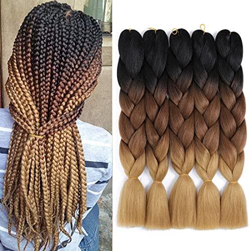 Jumbo Braiding Hair 5pcs/lot Ombre Braiding Hair Extensions Kanekalon Hair Braid Synthetic Braiding Hair Twist Braiding Hair (5pcs, Black/Drak Brown/Light Brown)