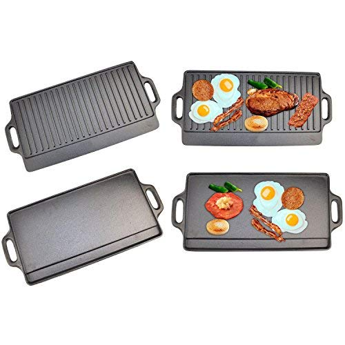 X-Large Non-Stick Cast Iron Reversible Griddle Plate Pan Double Sided for...