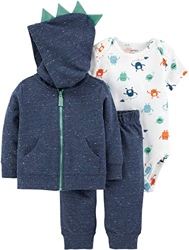 Carter's Baby Boys` 3-Piece Little Jacket Set (9 Months, Navy/Monsters)