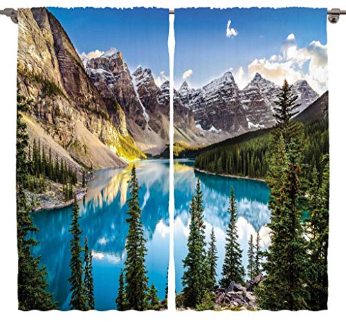 """Ambesonne Scenery Curtains, Nature Sunset View of Morain Lake and Mountain Range Alberta Canada Landscape, Living Room Bedroom Window Drapes 2 Panel Set, 108"""" X 90"""", Aqua and Brown"""