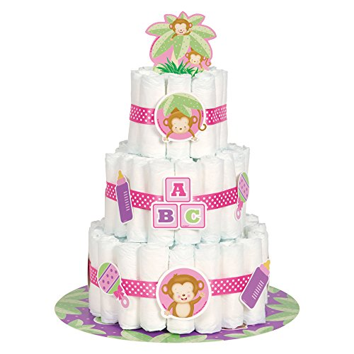 Girl Monkey Baby Shower Diaper Cake Kit,...