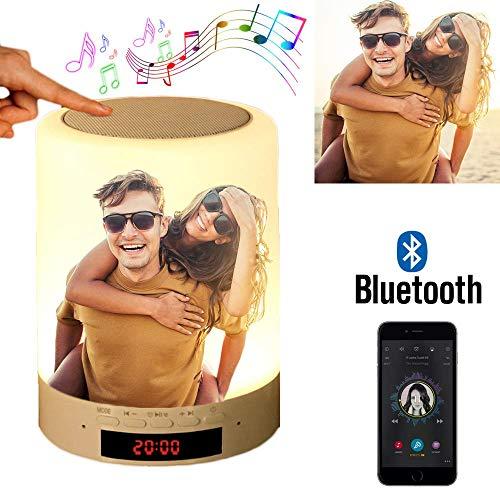 Benutzerdefiniertes Foto Nachttischlampe Stimmungslicht mit Bluetooth Lautsprecher, USB Wiederaufladbar Smart Touch Control Nachtlicht Musik Spielen Tischlampe für Schlafzimmer (Volle Farbe)