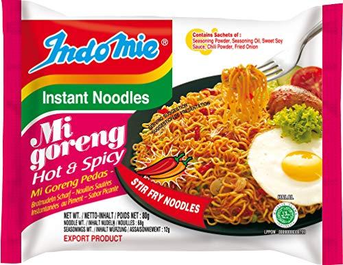 Indomie Mi Goreng Instant Noodles, Halal Certified, Hot & Spicy, (30-Pack), 84.6 Ounce