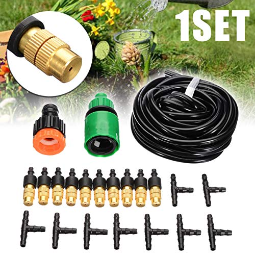 Trampoline sprinkler 16FT Garden Misting Cooling System Patio Water Mister Nozzles Mist Sprinkler Hose Spray Head Water Connection Kit ZHQHYQHHX