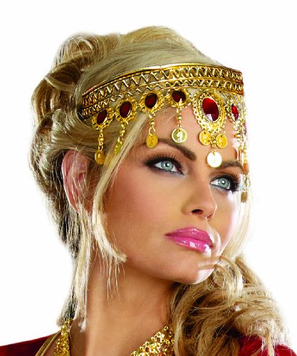 Dreamgirl Women's Dripping Rubies Headpiece, Gold, One Size