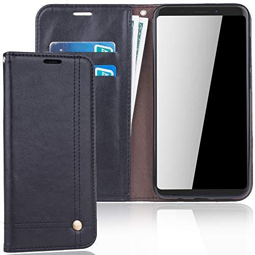 König Design Handyhülle Kompatibel mit Wiko View XL Handytasche Schutzhülle Tasche Flip Hülle mit Kreditkartenfächern - Schwarz