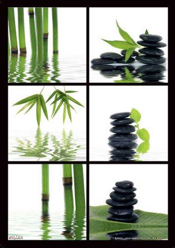 Zen Bambus/Steine - Mikrofasertuch zum sanften Reinigen empfindlicher Oberflächen - für iPhone Displays, Brillen - Grösse 15x21 cm
