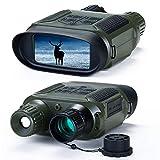 Binoculares Visión Nocturna, 4 Pulgadas 640P HD Gafas de Visión Nocturna Infrarrojos con Pantalla LCD para Detectar Caza (con Tarjeta de Memoria de 32G) Verde