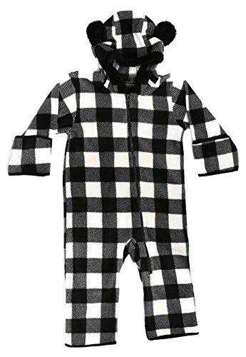 At The Buzzer 87000-BLKWHT-6-9M Baby Boys Fleece Pram Black/White