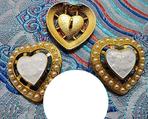 BTKNOO 10 unidades de moda de aleación de metal con forma de corazón, perla, abrigo, botón, tamaño 24 mm, NO3 tienen CC blanco