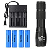 High 2000 Lumen LED 18650 Flashlight Tactical with 4PCS 3.7V Rechargeable Battery and 1PCS 4 Bay Battery Charger,Ultra Bright Zoomable, 5 Modes for Camping Hiking Emergency Use