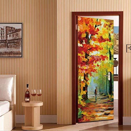 Tür-Aufkleber-Herbstlaub-Ölgemälde-Ausgangsdekor-Abziehbilder Selbstklebend Auf Tür-Wasserdichtem Wandgemälde Für Schlafzimmer-Erneuerung