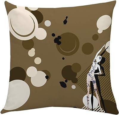 Longra Yoga Pillow Case Exercise Polyester Waist Throw Cushion Cover Home Decor(Multicolor,E