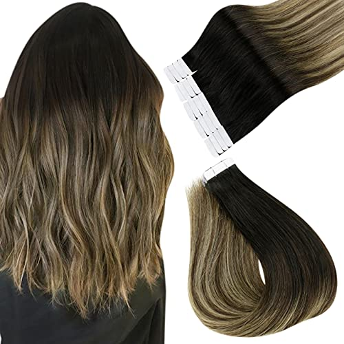 Esayouth Cheveux Naturel Tape on Hair Extensions Couleur Off Black to Chestnut Brown mix with Honey Blonde Extensions de Cheveux Remy Tape in Tape Extensions 12pouces 30g