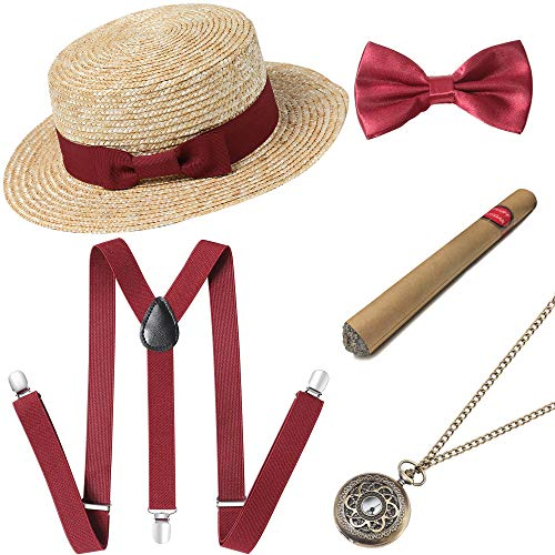BABEYOND 1920s Mens Gatsby Costume Accessories Set Includes Brim Boater Hat Elastic Y-Back Suspender Pre Tied Bow Tie Pocket Watch and Plastic Cigar (Set-4)