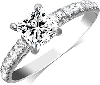 Manda Collection 0.88cttw Princess Cut Diamond 18K White Gold Engagement Ring (Center Diamond GIA Cerftified 0.57-Carat, E-F Color, and I1-I2 Clarity)