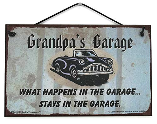 Egbert's Treasures 5x8 Sign with Classic Car Saying Grandpa's Garage What...