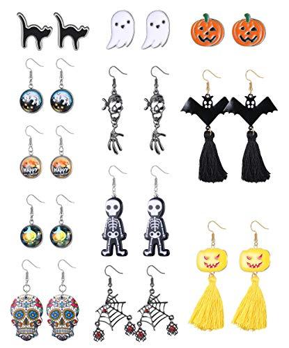 Milacolato Orecchini Halloween per Donne Temi Bulk Sugar Skull Pattern Halloween Orecchini Set Orecchini Pendenti Orecchini Regali di Gioielli di Halloween