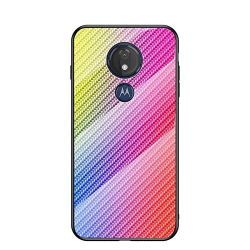 MadBee Coque pour Motorola Moto G7 Play [avec Film de Protection écran],Coque avec Revêtement Arrière en Verre Trempé avec Modèle de Fibre + TPU Silicone Souple Anti Choc Case Cover (Coloré)