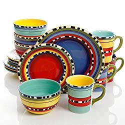 Gibson Elite 114396.16RM Chili Verde 16 Piece Handpainted Dinnerware Set, Multi Colors