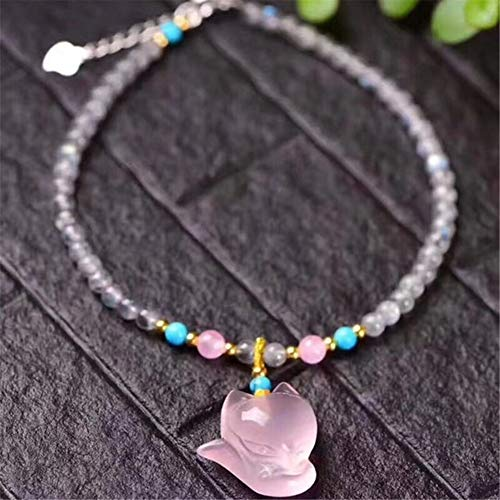 HXML Natural Pink Crystal Fox Pendant Fashion Anklet Ankle Bracelets for Women Adjustable Size