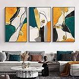 Póster de pared abstracto de lujo, impresión en lienzo, lámina dorada, pintura, cuadros de pared para decoración de sala de estar, 50x70cmx3 sin marco
