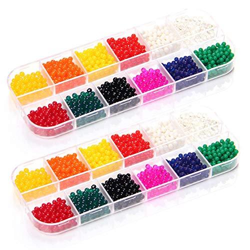 LZS Gel Soil Grow Magic Bolas de gelatina con Perlas de Cristal de Agua 12 Colores jarrón Relleno para decoración del hogar 2 Paquetes