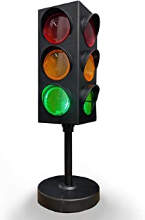Kicko Traffic Light Lamp with Base - 8 Inch Mini Stop Light Lamp, Blinking 4 Sided with Plug-in Cord - Decoration for Kids' Bedrooms or themed Parties - Toy for Pretend Play