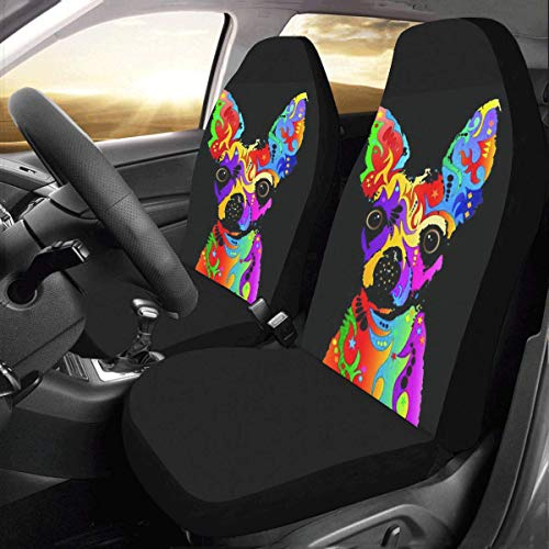 Artsadd Coloful Dog Fabric Car Seat Covers (Set of 2) Best Automobile Seats Protector