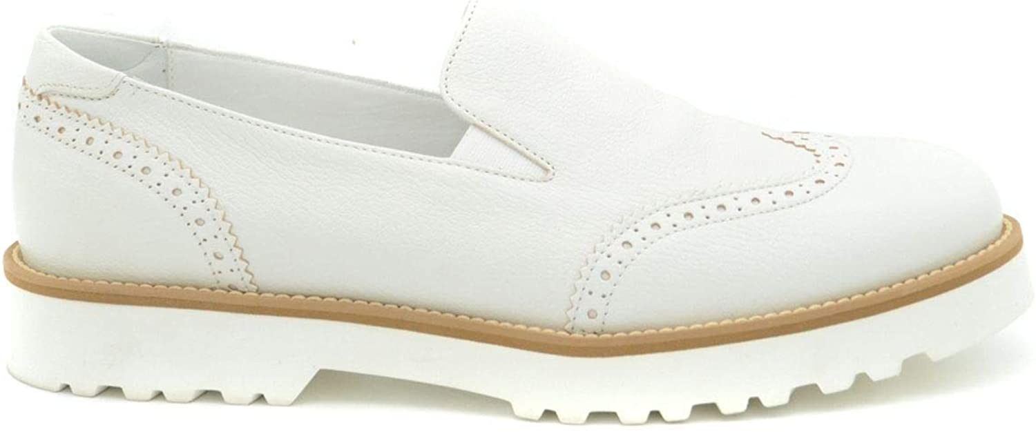 Hogan Women's MCBI36891 White Leather Loafers