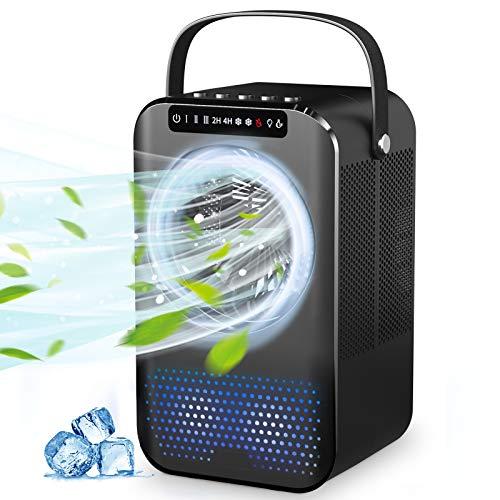 Raffreddatore d'aria Portatile 4 in 1, Condizionatore d'aria Personale Rinfrescatore d'aria, Ventilatore, Umidificatore, 7 LED Multicolore Luce, Timer 2/4H, 3 Velocità, per Casa e Ufficio